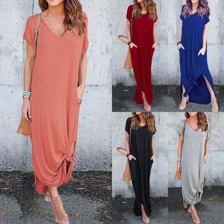 The Noble Collection Women T-Shirt Long Maxi Dress Split Evening Party Shirt Dress Summer Beach Dress](20s Era Dresses)