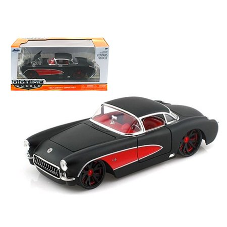 - 1957 Chevrolet Corvette Hard Top Primered Black With Red 1/24 Diecast Model Car by Jada