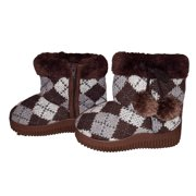Callie Knit Sweater Argyle Plaid Faux Fur Lined Fashion Boots with Pom Poms for Toddler Girls (Toddler 6, Brown)