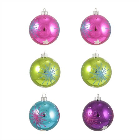 6ct Colorful Starburst Shatterproof Christmas Ball Ornaments 3.25