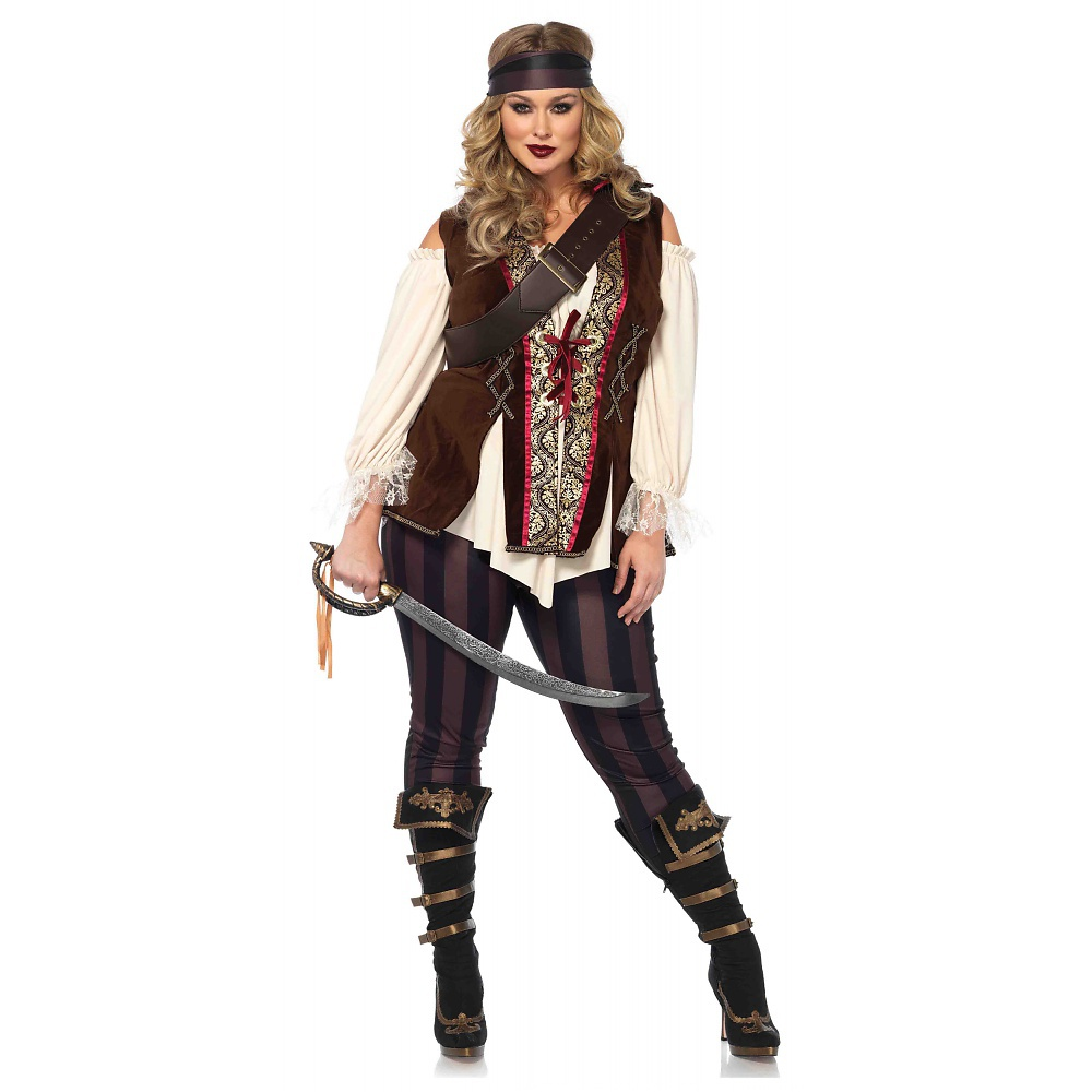 Leg Avenue Women's Plus Size Captain Blackheart Costume, Multi, 1X-2X
