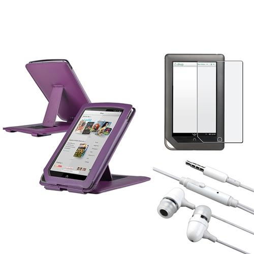 Insten Purple w/Stand Leather Case+Anti-Glare Screen Protector+Headset For Nook Tablet