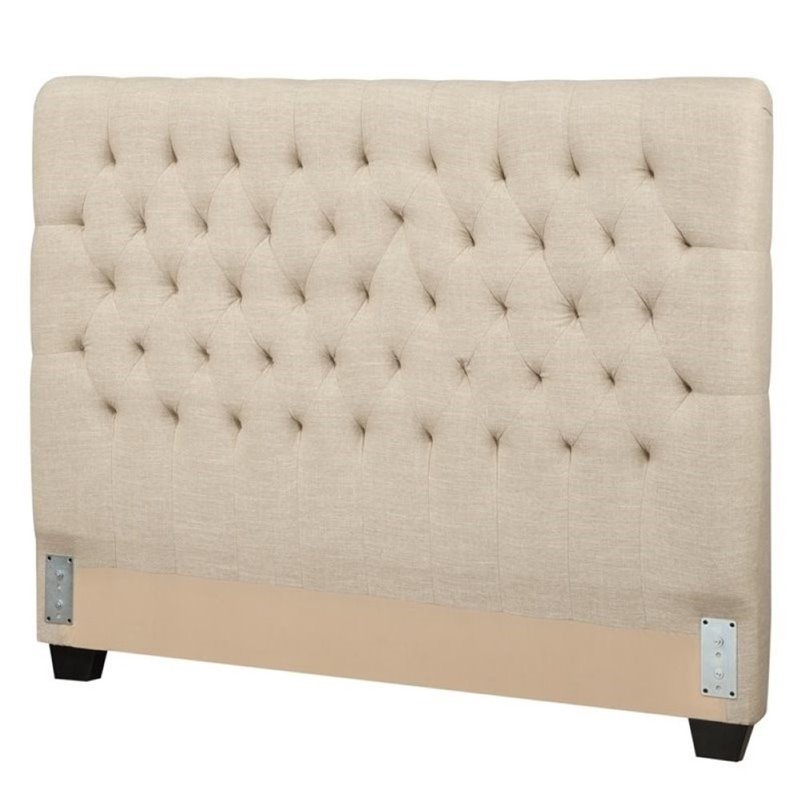 Bowery Hill Upholstered Queen Headboard in Oatmeal