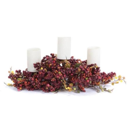 "21"" Autumn Harvest Red and Orange Berries and Grape Leaf Fall Pillar Candle Holder Centerpiece"
