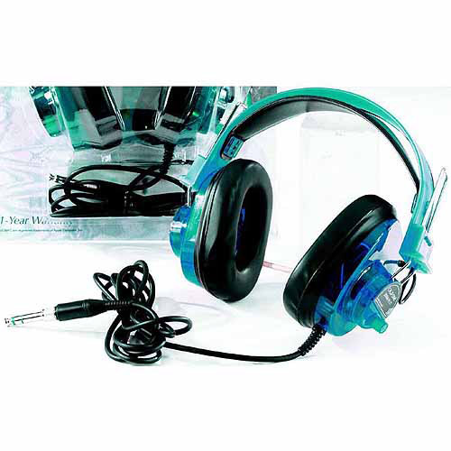 Califone Deluxe Stereo Headset 6 ft Cord, Blueberry, for Use with PC, Mac