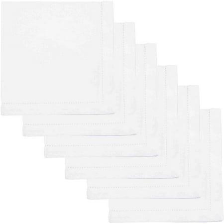Now Designs Hemstitch Napkins 100 Percent Cotton, Set of 6 - Red Cloth Napkins