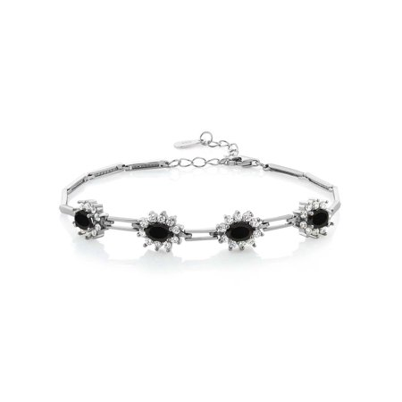 Black Onyx And Sterling Silver Bracelet (3.56 Ct Oval Black Onyx 925 Sterling Silver Tennis Bracelet 7 Inch with 1 Inch)