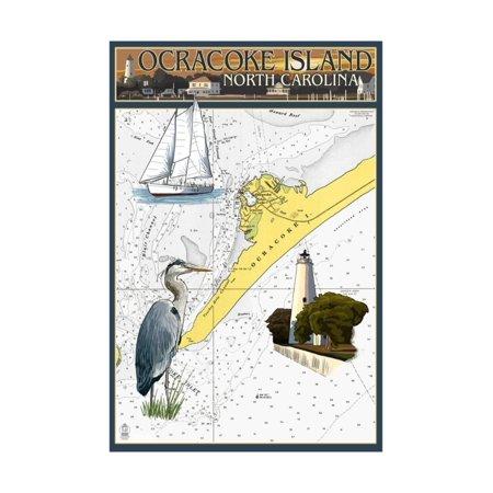 Ocracoke Island, North Carolina - Nautical Chart Print Wall Art By Lantern Press (Nautical Decor For Sale)