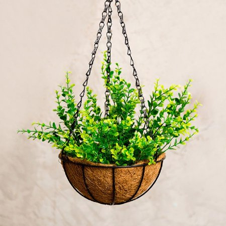 1pc Wire Coconut Palm Baskets Flowers Plants Fleshy Flower Pot Chain Hanging Decoration for Garden Porch Balcony Indoor Outdoor 8 Inch - image 4 of 5