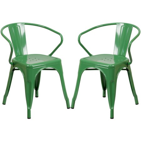 A Line Furniture Green Galvanized-metal Integrated Arm Chairs ()