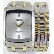 Men's Crystal Accent Two-Tone Watch and Bracelet Set
