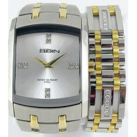 - Men's Crystal Accent Two-Tone Watch and Bracelet Set