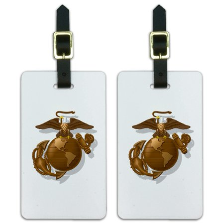 Usmc Globe And Anchor - Graphics and More Marines USMC Golden Logo on White Eagle Globe Anchor Officially Licensed Luggage ID Tags Suitcase Carry-On Cards - Set of 2