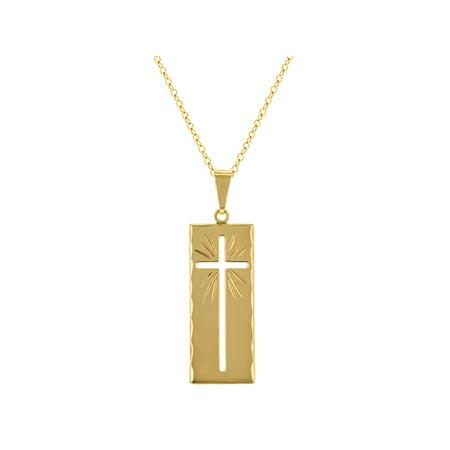 (18k Gold Plated Rectangular Religious Cross Medal Pendant Necklace 19