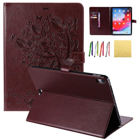 iPad Pro 11 2018 Case, Allytech Embossed Cat & Tree PU Leather Stand Folio Wallet Case Cover with Credit Card Slots for New Apple iPad Pro 11 2018, Coffee ()