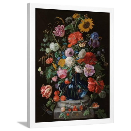 Tulips, a sunflower, an iris and numerous other flowers in a glass vase on marble column base Framed Print Wall Art By Jan Davidsz. de Heem ()