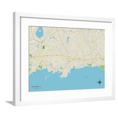 Political Map of Guilford, CT Framed Print Wall Art