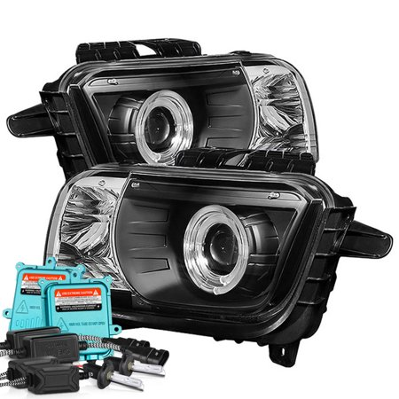 [For 2010-2013 Chevy Camaro Halogen Model] LED Halo Ring Projector Headlight Headlamp Assembly, Driver & Passenger Side