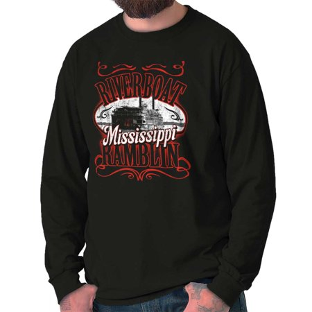 Brisco Brands Historic Mississippi Riverboat Long Sleeve Tee Shirt -