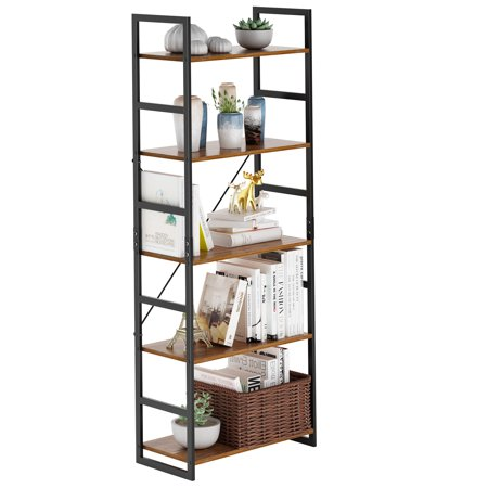 LANGRIA 5 Shelf Bookcase, Bookshelf Industrial Style Metal and Wood Bookshelves Free Vintage Standing Storage Shelf (Freestanding Wood)