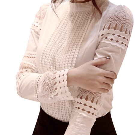 Country Lane Flower (Women Blouses Slim Long-sleeved White Shirt Lace Hook Flower Hollow Standing Collar Tops white S)