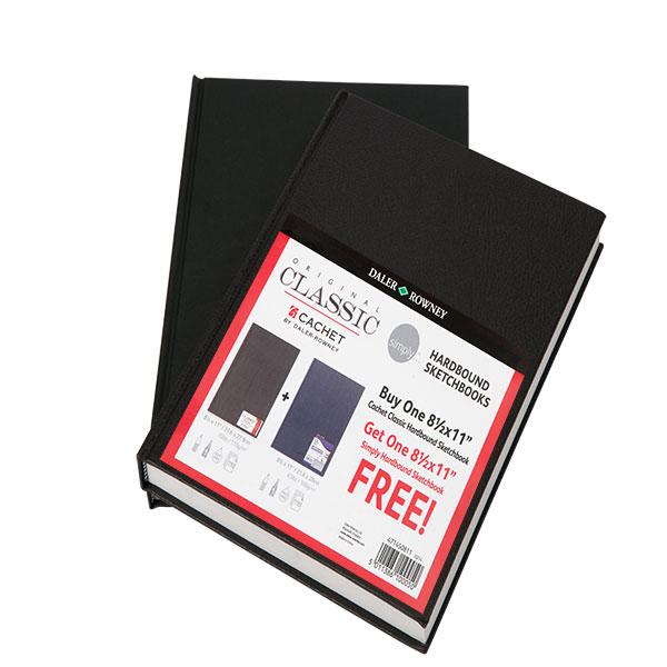 "Cachet Classic Sketchbook Hardbound 8.5x11/"" Black"