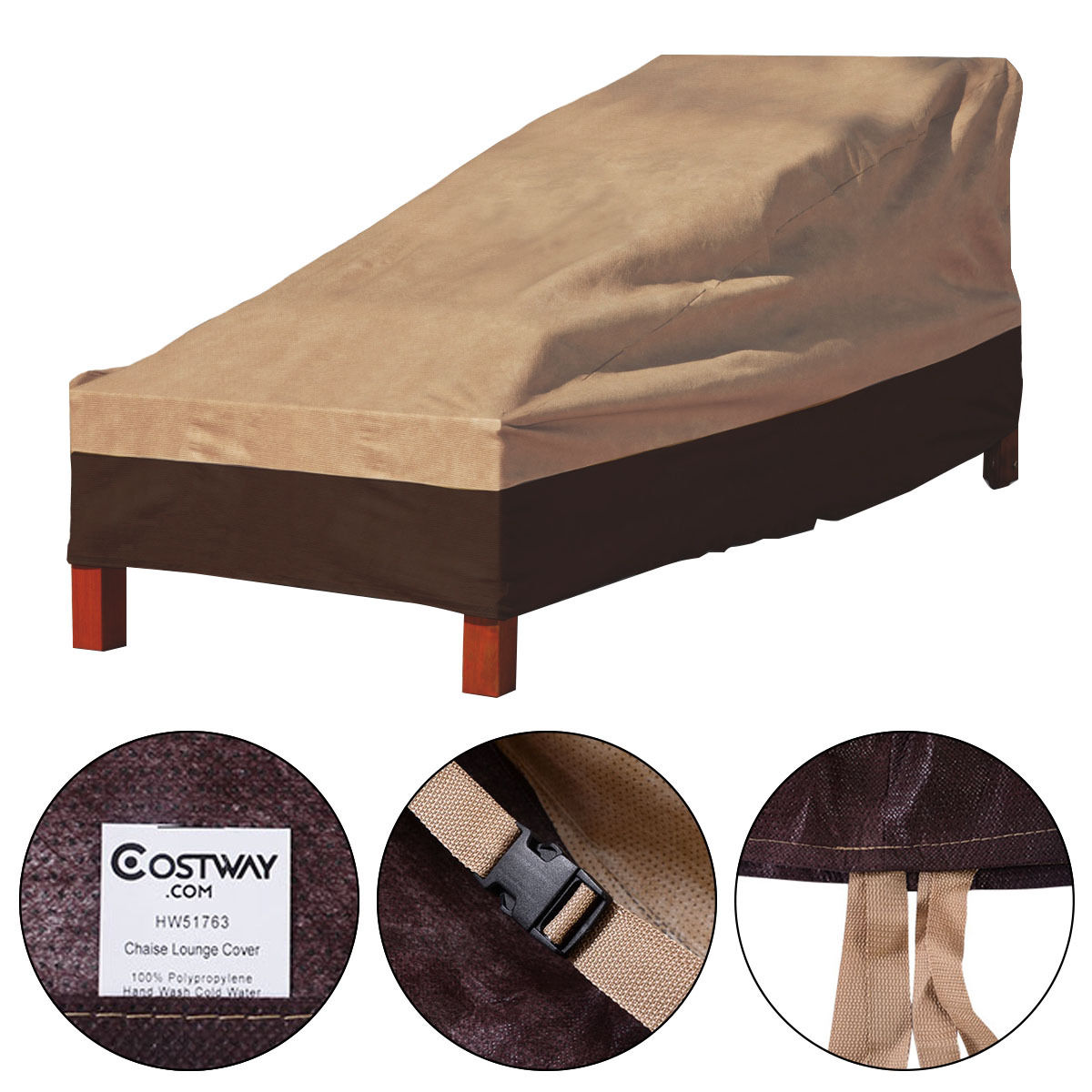 Costway Waterproof Outdoor Patio Chaise Lounge Chair Furniture Cover Protection