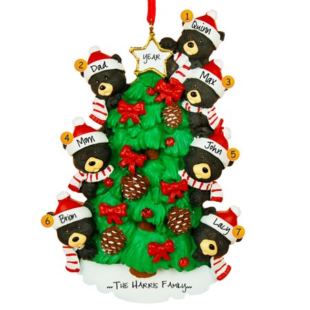 Bear Tree Family 7 Personalized Christmas Ornament DO-IT-YOURSELF