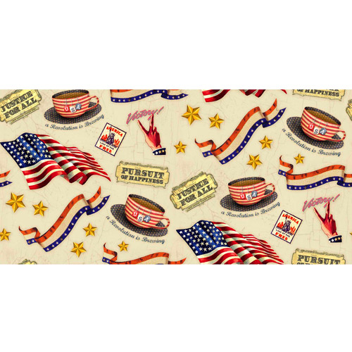 Springs Creative Patriotic Pursuit of Happiness Fabric, By the Yard
