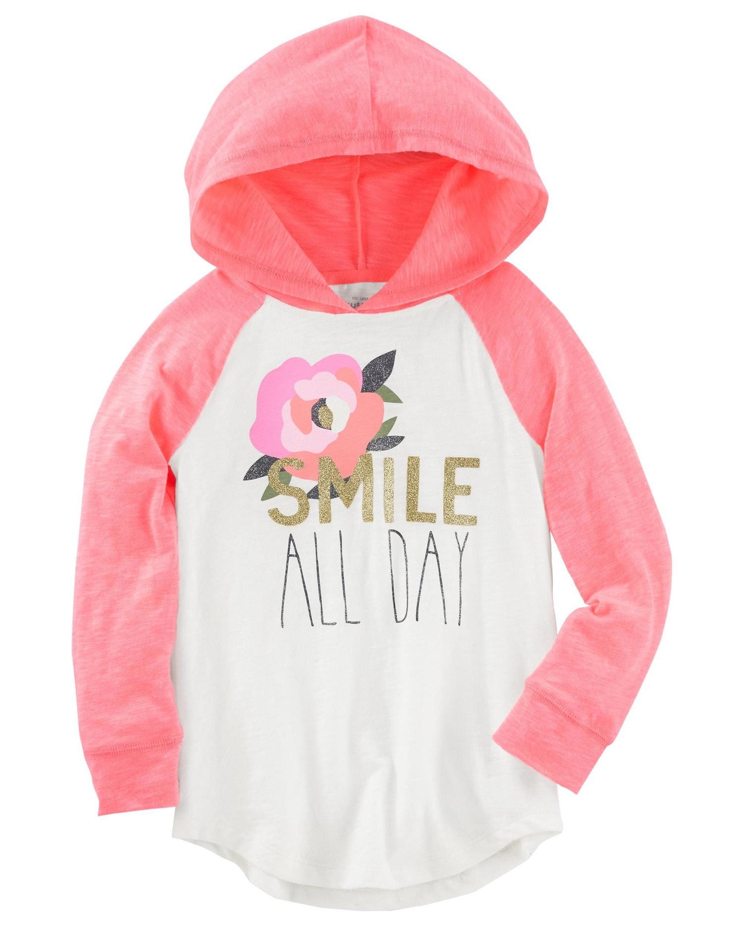 OshKosh B'gosh Little Girls' Glitter Hooded Tunic- Smile All Day
