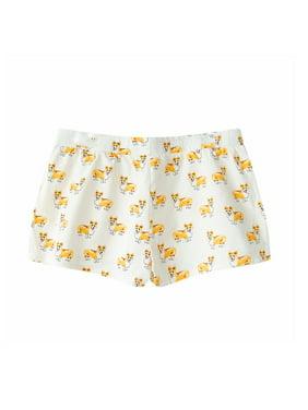 42fad1ab6ac4 Product Image Fashion Culture Corgi Dog Print Pajama Lounge Shorts, White  (Medium)