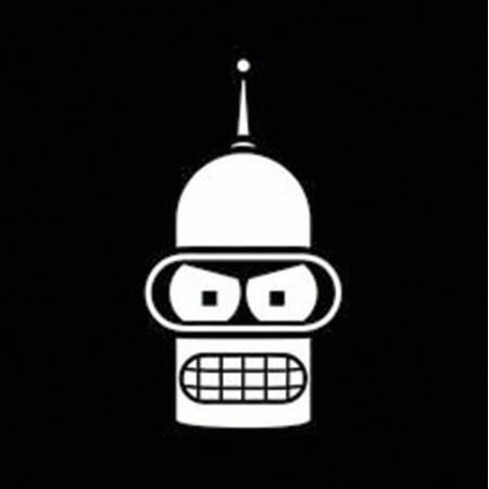 01945c2da88 Bender Face Futurama Vinyl Decal Sticker|Cars Trucks Vans Walls Laptops  Cups | White | 5.5 In