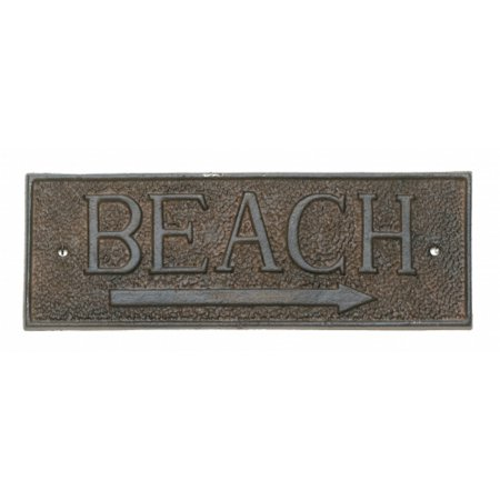 Directional Cast (Beach Arrow Directional Wall Sign Metal 9.5 Inch Cast Iron)