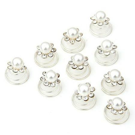 10pcs Delicate Women's Girls Wedding Bridal Crystal Rhinestones Metal Spiral Twist Hairpins Hair Pins (White)