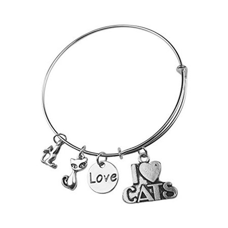 - Art Attack Silvertone I Heart Love Kitty Cats Feline Animal Pet Charm Expandable Bracelet