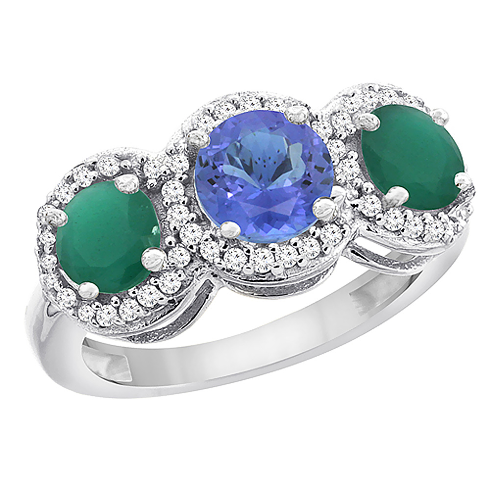 14K White Gold Natural Tanzanite & Emerald Sides Round 3-stone Ring Diamond Accents, size 5