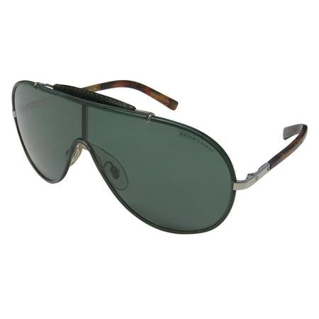2698914c9 New Ralph Lauren 3074pq Mens/Womens Shield Full-Rim 100% UVA & UVB Dark  Emerald / Silver / Brown Pattern 100% Sun Protection Fancy Fashion  Accessory ...