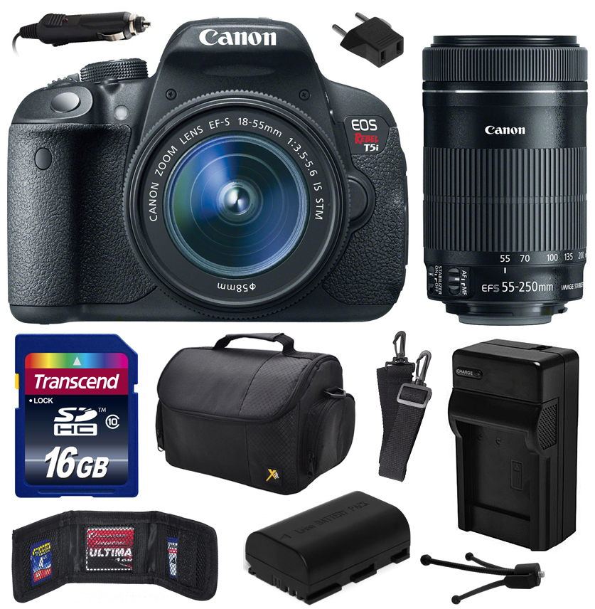 Canon EOS Rebel T5i Digital SLR with 18-55mm STM and EF-S 55-250mm f/4-5.6 IS STM Lens includes 16GB Memory, Large Case, Battery, Charger, Memory Card Wallet, Cleaning Kit (16GB Value Bundle) 8595B003