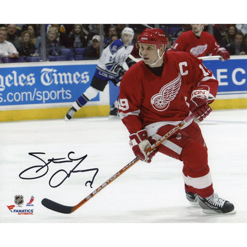 "Steve Yzerman Detroit Red Wings Autographed 8"" x 10"" Skating Red Jersey Photograph - No Size"