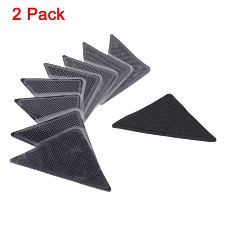 2 Pack, 8 Pcs/Pack Home Reusable Non Slip Sticker Carpet Pad Underlay Tape Rug Grippers Black ()