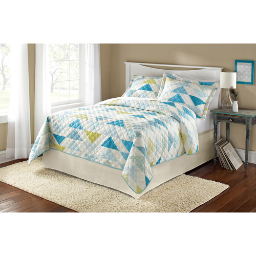 Mainstays Teal Triangle Quilt Collection