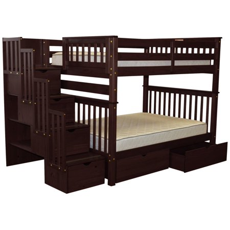 Bedz King Bunk Beds Full Over Full Drawers Steps Under Bed Drawers