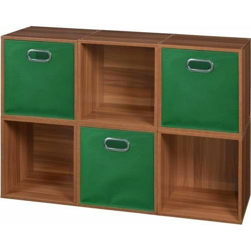 Regency Niche Cubo Storage Set of 6 Cubes, Warm Cherr and 3 Canvas Bins, Multiple Colors