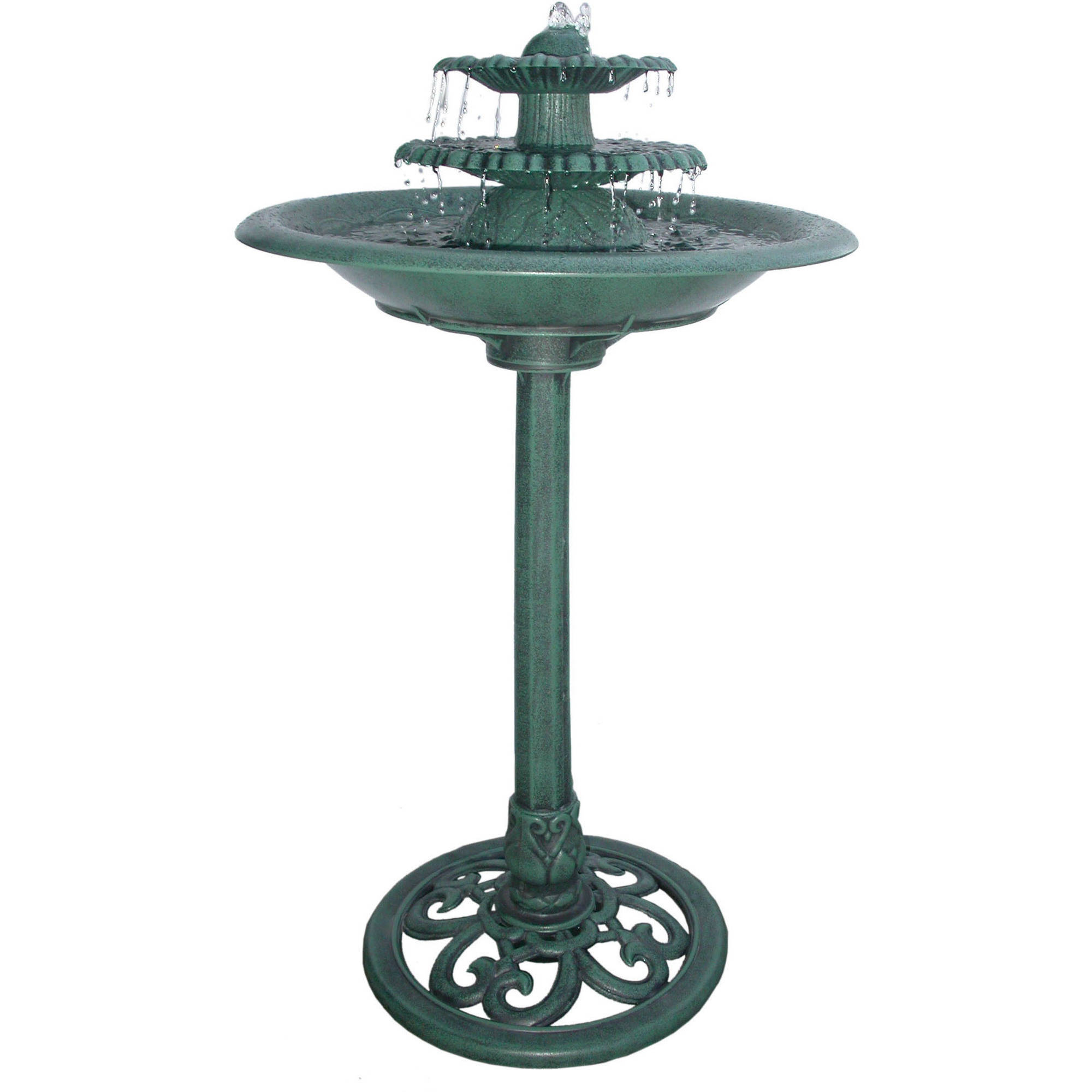 "Click here to buy 36"" Tiered Pedestal Fountain Birdbath by Alpine Corporation."