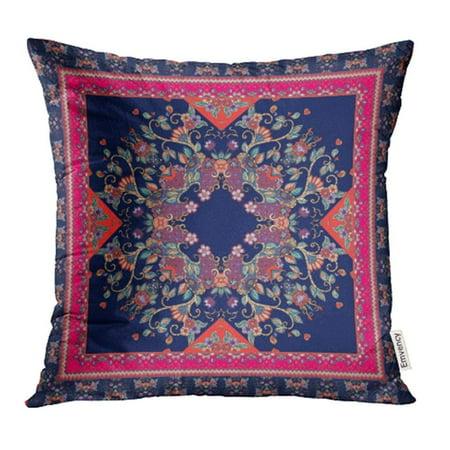 CMFUN Colorful Oriental Scarf with Lovely Tablecloth Carpet Ethnic Bandana Ceramic Pillowcase Cushion Cover 18x18 inch (Bandana Tablecloth)