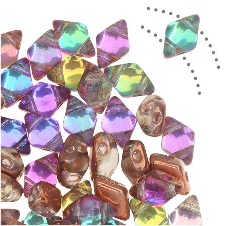 Glass Beads Mini (Czech Glass DiamonDuo Mini, 2-Hole Diamond Shaped Beads 4x6mm, 8 Grams, Prismatic Fiesta )