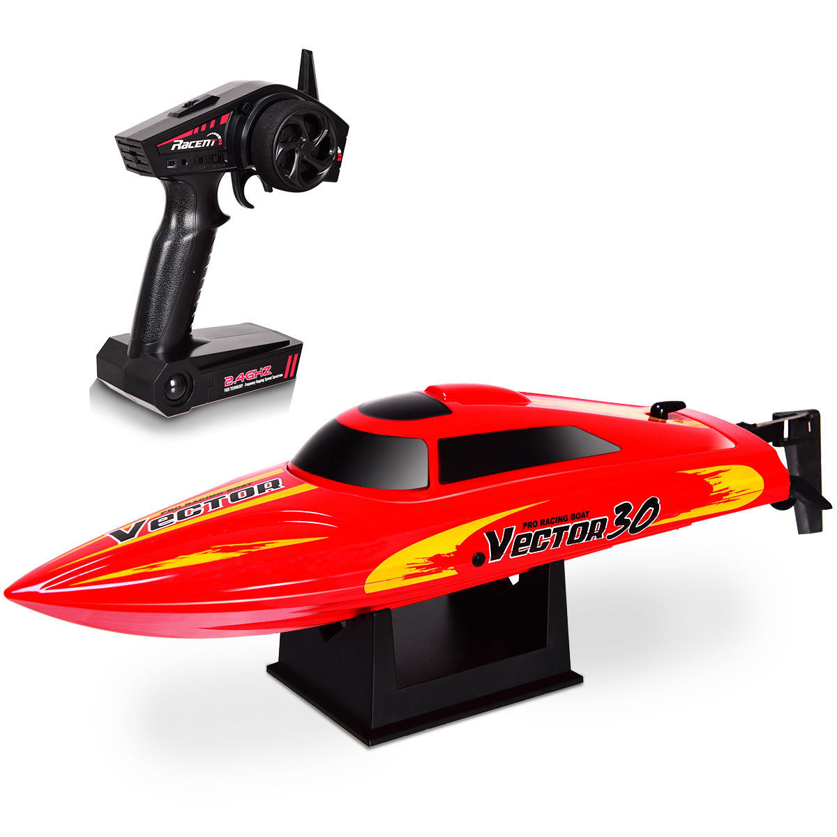 Costway 2.4G RC Racing Boat High Speed 30KM/H Brushed RTR Fast Racing Lake Toy Gift Red