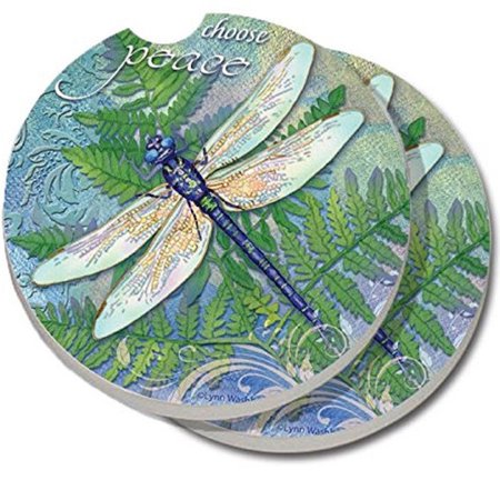 CounterArt Absorbent Stone Dragonfly Inspiration Car Coaster (Set of 2)