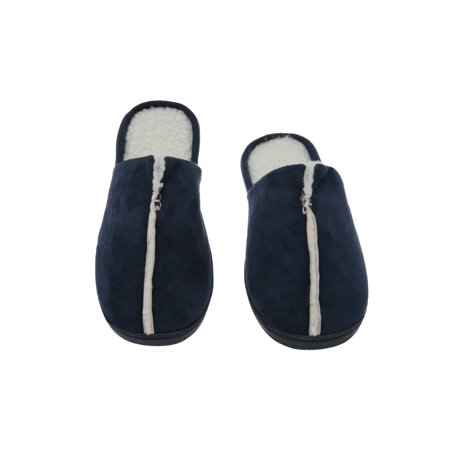 Sunday Morning Slip-On Memory Foam House Slippers, Size 11-12 – Warm Cozy Faux Lamb Wool Fleece Lining – Wear Resistant Microsuede – Durable Non-Marking Rubber Sole – Men's Slippers, Navy