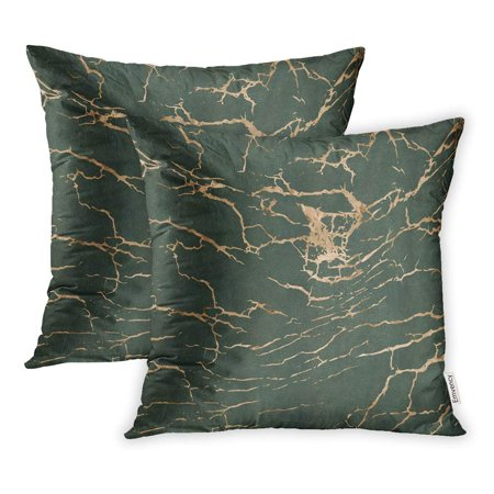 USART Abstract Cracked Marble Vein Design in Rose Gold Overlaid on Dark Green Suede Crack Pillowcase Cushion Cases 16x16 inch Set of 2